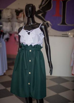 Офигительная юбка миди на пуговицах с поясом