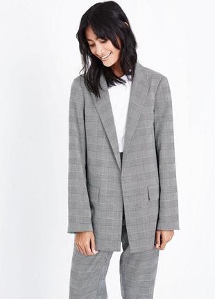 Удлиненный жакет/пиджак/блейзер в клетку new look