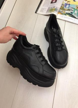 36/37 большие кроссовки на платформе в размерах кожа  италия