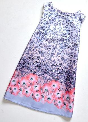 Распродажа.miss g/c. красивое хлопковое платье с каймой из цветов. 4 года