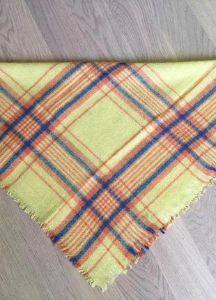 Теплый шерстяной платок в клетку винтаж бабушкин