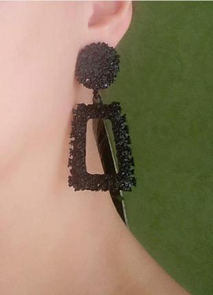 Серьги в стиле zara сережки черные винтаж геометрия