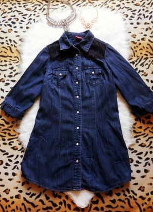 Синяя джинсовая длинная рубашка туника с черным гипюром ажурные вставки с рукавами