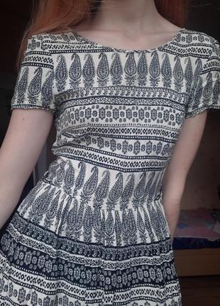 Хлопковое летнее платье сарафан легкое с коротким рукавом в полоску турецкие огурцы белое