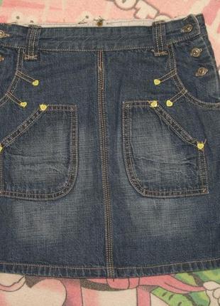 Классная джинсовая юбка для девочки 8-9 лет