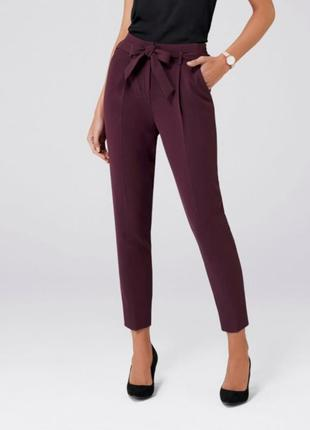 Распродажа! идеальные брюки бананы сигареты с поясом бургунди высокая посадка paperbag