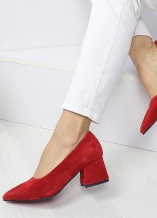Натуральный замш люксовые красные туфли на среднем каблуке4 фото
