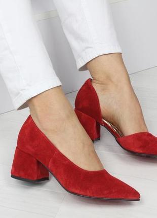 Натуральный замш люксовые красные туфли на среднем каблуке5 фото