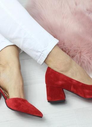Натуральный замш люксовые красные туфли на среднем каблуке6 фото