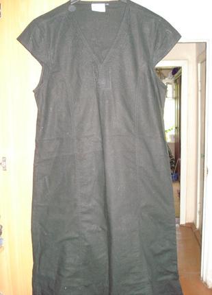 Прямое чудесное лаконичное льняное платье густого черного цвета р.18