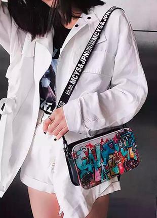 Яркая сумка граффити, сумка клатч, молодежная сумка, женская сумочка