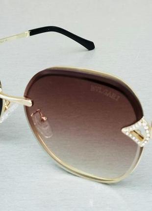 Bvlgari очки женские солнцезащитные коричневые с градиентом