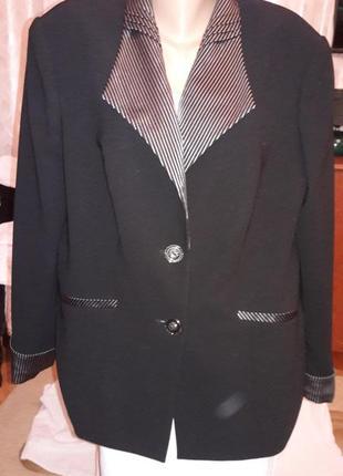 Офисный классический пиджак жакет ворот и манжеты в полоску большой размер evrain