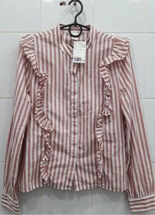Натуральная хлопковая рубашка блуза с рюшами в полоску