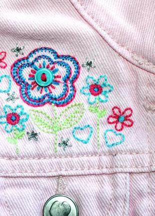 George. розовая джинсовка с вышивкой. 12-18 мес. рост 81-86 см2 фото