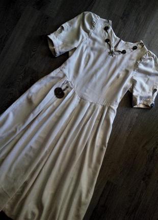 Италия vip бренд fabiani кремовое дизайнерское платье лен с кожаной ключницей👑миди/макси
