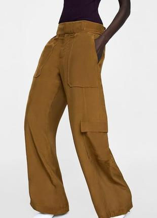 Вискозные широкие свободные штаны брюки карго палаццо от zara
