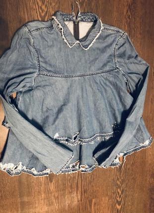 Шикарная джинсовая рубашка с баской и потертостями asos