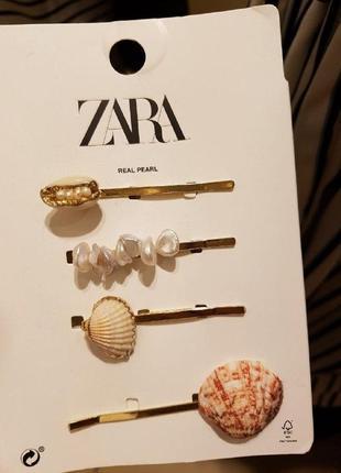 Комплект шпильок із мушлями та перлинами, zara! оригінал, з німеччини!