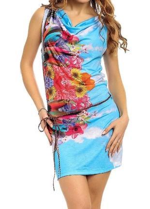 Летняя яркая пляжная туника платье длинная футболка голубая тропический принт испания