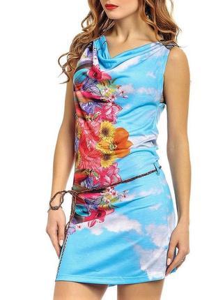 Летнее яркое пляжное платье туника  футболка голубая тропический принт испания