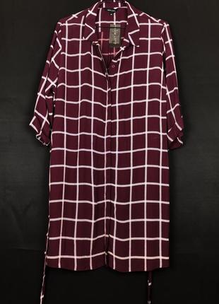 Бордовое летнее платье рубашка в клетку от new look