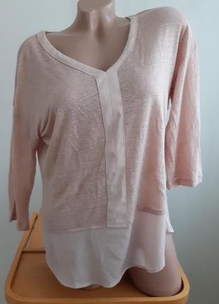 Пудрово- розовая блуза, лён, размер l, maddison.