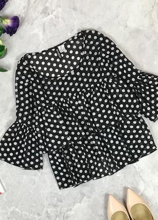 Стильная блуза с оборками в горох  bl1928030 h&m
