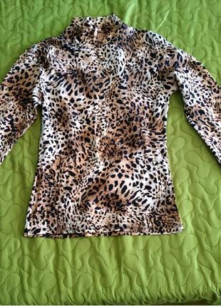 Водолазка кофта леопардовый тигровый принт