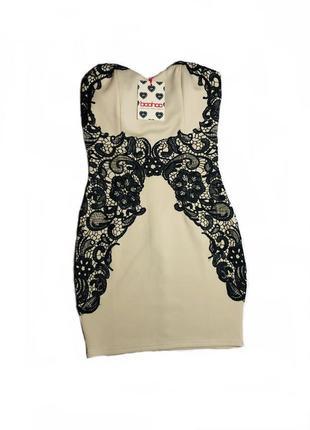 Нарядное платье без бретелек короткое цвет шампань boohoo