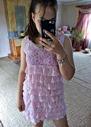 Платье мини летнее, пудра розовое