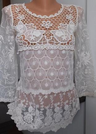 Ажурная нарядная блуза гипюровая х/б блузка zara basic