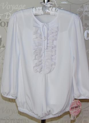 Блузка белая с коротким рукавом remix польша