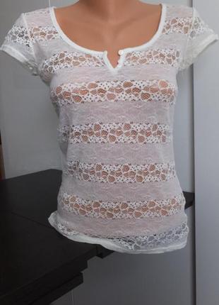 Ажурная нарядная блуза гипюровая стрейчевая футболка tally weijl