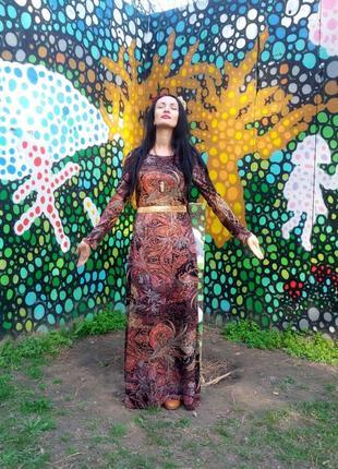 Длинное трикотажное платье в пол с длинным рукавом