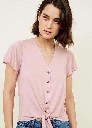 Легкая футболка с пуговицами цвета пудра от new look