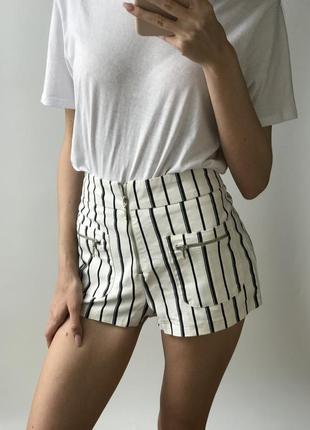 Высокие шорты мини короткие белые чёрные в полоску джинс плотные бершка пляжные