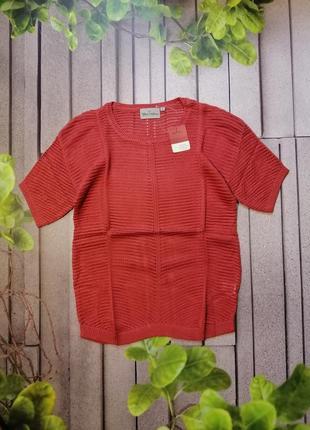 Пуловер сеточка брусничного цвета