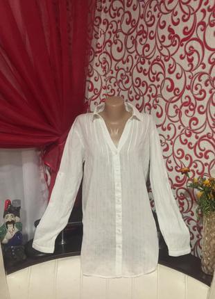 Обалденная хлопковая летняя удлиненная рубашка от denim co на 48-50 р