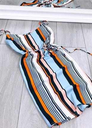 Крутое платье в полоску на бретелях