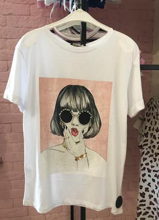 """Крутезна біла футболка з принтом-картиною, «crep"""", туреччина"""