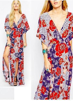 Платье макси asos с рукавами кимоно и цветочным принтом в стиле бохо