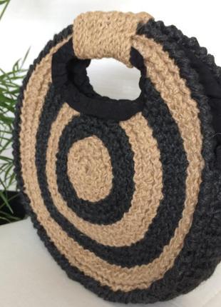 Сумка кругла еко плетена вязана1 фото