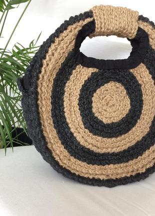 Сумка кругла еко плетена вязана4 фото