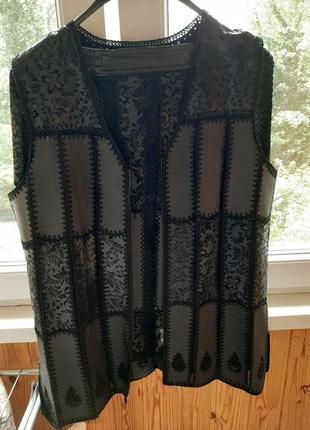 Кожаный костюм жилетка и юбка