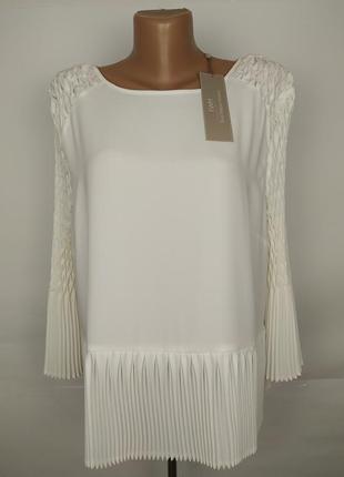 Блуза новая белая шикарная плиссированная большой размер uk 18/46/xxl