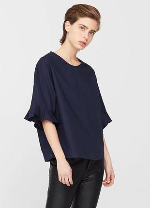 Блуза темно-синяя котон