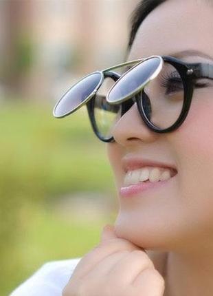 ☀ крутые солнцезащитные очки флип (2 пары линз)