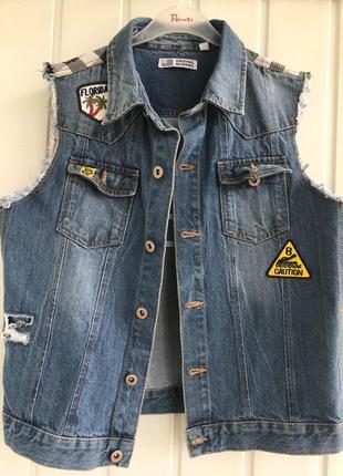 Брендовый джинсовый жилет original marines
