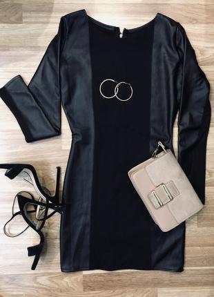 Чёрное платье с кожаными вставками